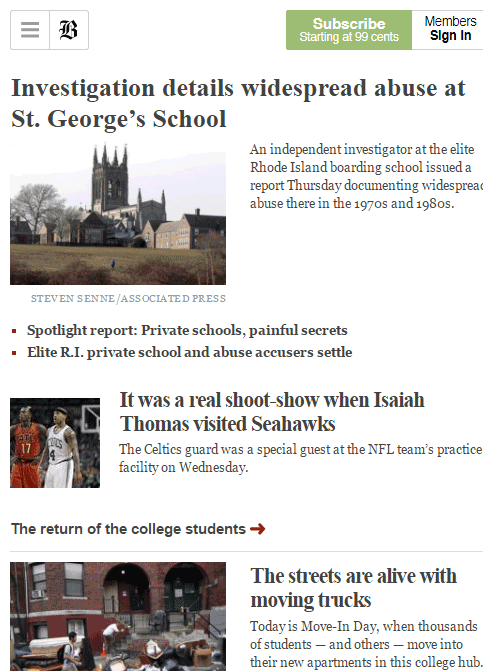 Boston Globe Mobile Design
